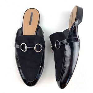 Tahari Black Frenchie Mule size 10 M suede patent
